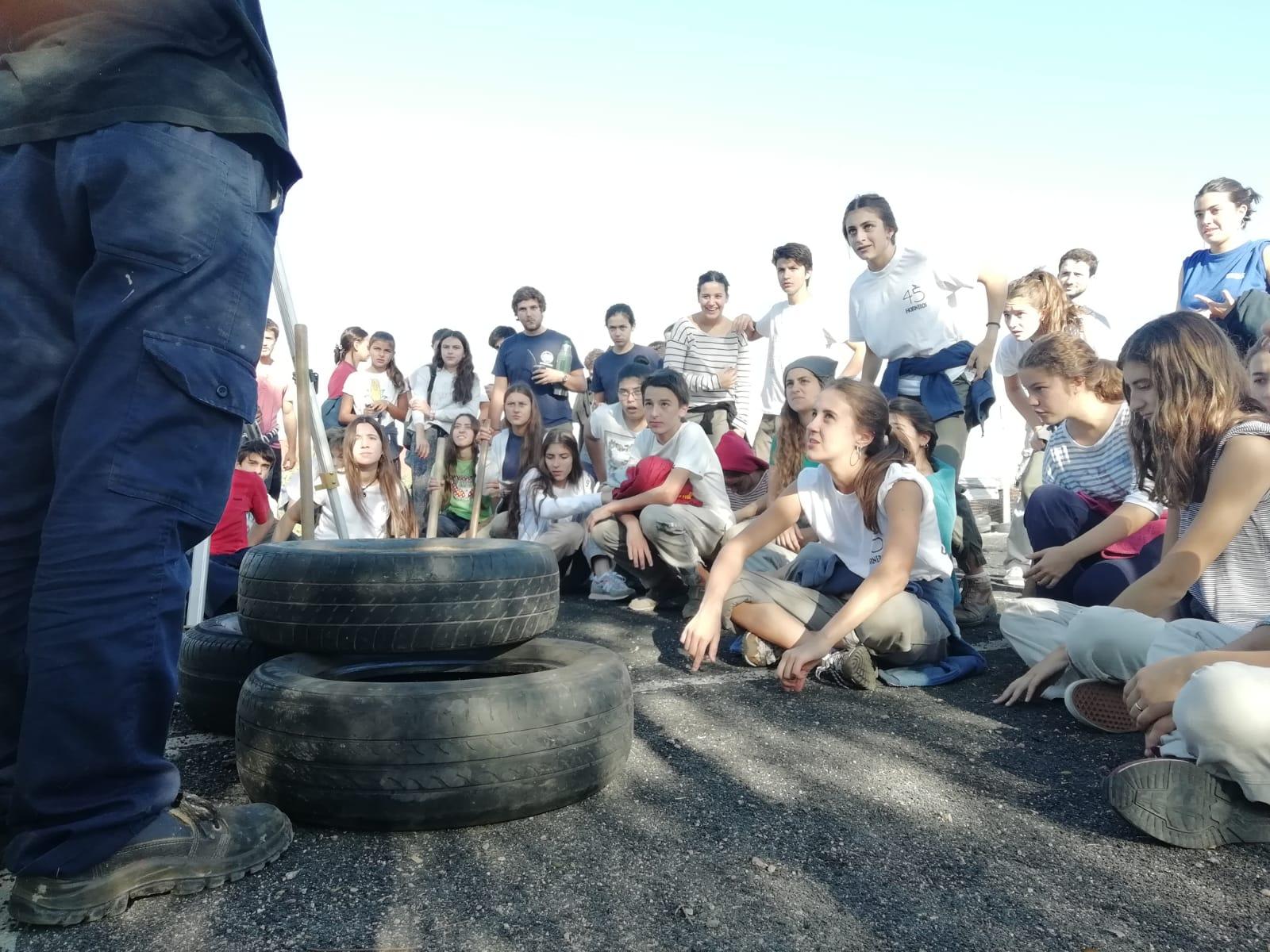 Neumáticos en obra